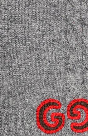 Детский шерстяной шарф GUCCI серого цвета, арт. 574730/4K206 | Фото 2