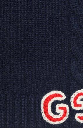 Детский шерстяной шарф GUCCI синего цвета, арт. 574730/4K206 | Фото 2