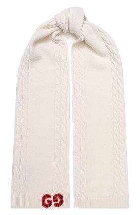 Детский шерстяной шарф GUCCI белого цвета, арт. 574730/4K206 | Фото 1
