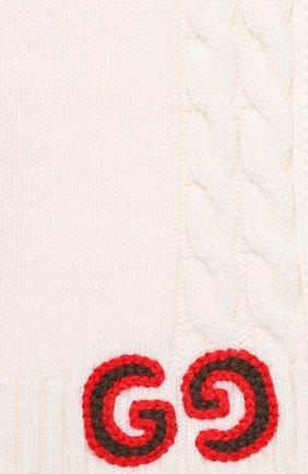 Детский шерстяной шарф GUCCI белого цвета, арт. 574730/4K206 | Фото 2