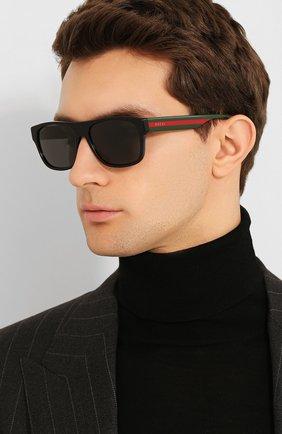 Мужские солнцезащитные очки GUCCI черного цвета, арт. GG0341 001 | Фото 2