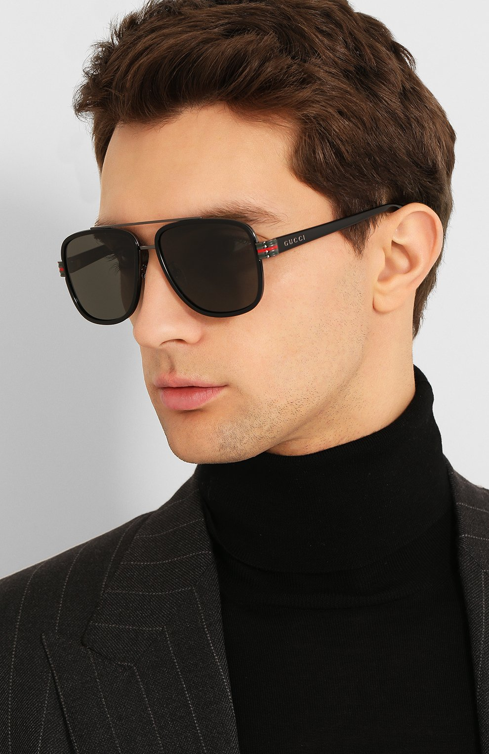 Мужские солнцезащитные очки GUCCI черного цвета, арт. GG0448 001   Фото 2