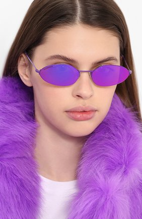 Мужские солнцезащитные очки BALENCIAGA фиолетового цвета, арт. BB0055 002 | Фото 2