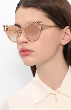 Женские солнцезащитные очки DOLCE & GABBANA золотого цвета, арт. 2239-12986F   Фото 2