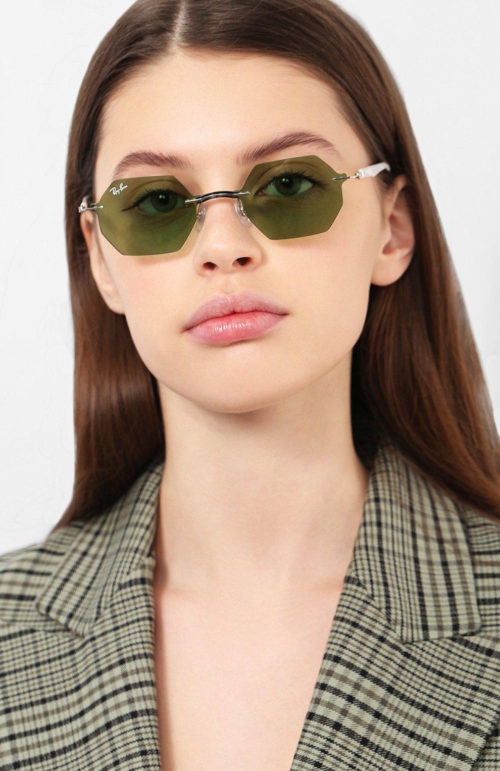 Женские солнцезащитные очки RAY-BAN зеленого цвета, арт. 8061-003/2 | Фото 2