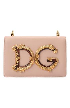 Женская сумка dg girls DOLCE & GABBANA светло-бежевого цвета, арт. BB6498/AZ801   Фото 1 (Сумки-технические: Сумки через плечо; Материал: Натуральная кожа; Размер: small; Женское Кросс-КТ: Вечерняя сумка; Ремень/цепочка: На ремешке)