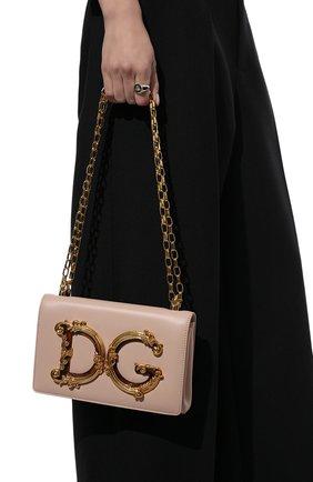 Женская сумка dg girls DOLCE & GABBANA светло-бежевого цвета, арт. BB6498/AZ801   Фото 2 (Сумки-технические: Сумки через плечо; Материал: Натуральная кожа; Размер: small; Женское Кросс-КТ: Вечерняя сумка; Ремень/цепочка: На ремешке)