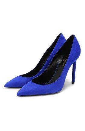Женская замшевые туфли zoe SAINT LAURENT синего цвета, арт. 582301/C2000 | Фото 1