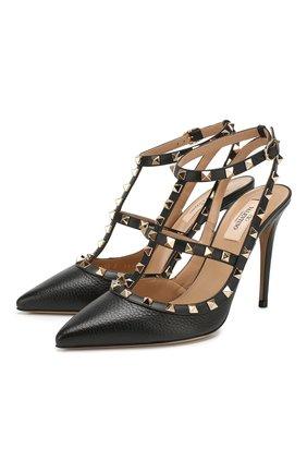 Женская кожаные туфли valentino garavani rockstud VALENTINO черного цвета, арт. TW2S0393/VCE | Фото 1