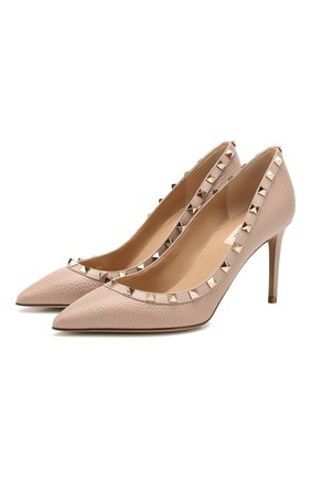 Женская кожаные туфли valentino garavani rockstud VALENTINO бежевого цвета, арт. TW2S0A04/VCE | Фото 1