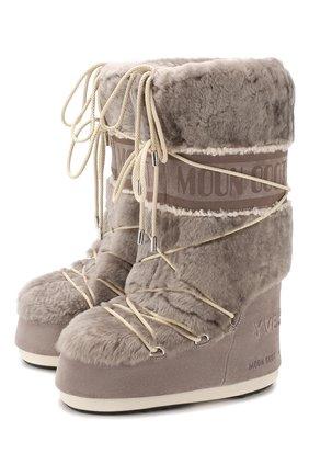 Женские замшевые сапоги yves salomon x moon boot YVES SALOMON серого цвета, арт. 20WAC703XXMERL | Фото 1