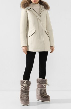 Женские замшевые сапоги yves salomon x moon boot YVES SALOMON серого цвета, арт. 20WAC703XXMERL | Фото 2
