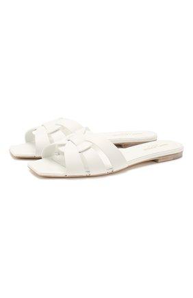 Женские кожаные шлепанцы nu pieds SAINT LAURENT белого цвета, арт. 571952/B2U00 | Фото 1