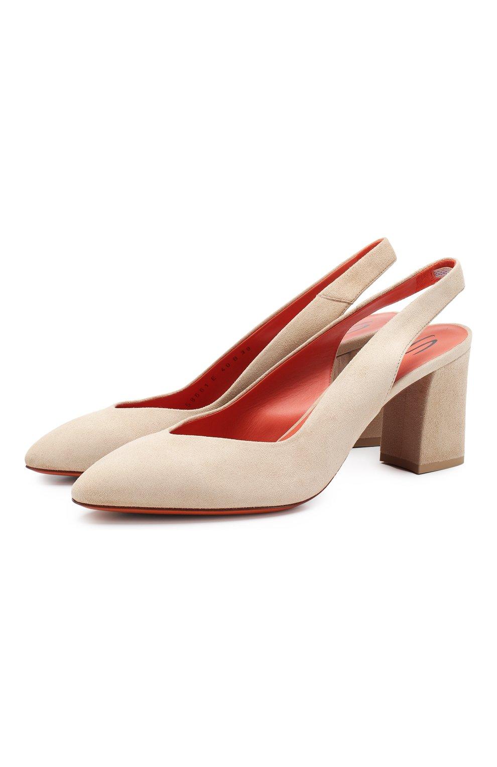 Женские замшевые туфли SANTONI бежевого цвета, арт. WDHZ58661HI2RMGDE40 | Фото 1