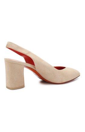 Женские замшевые туфли SANTONI бежевого цвета, арт. WDHZ58661HI2RMGDE40 | Фото 4