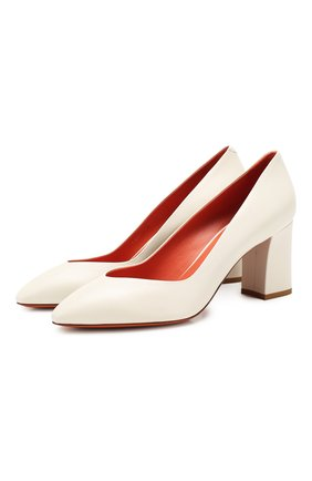 Женская кожаные туфли SANTONI белого цвета, арт. WDHZ58610HI2RSZAG15   Фото 1