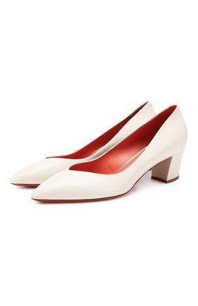 Женская кожаные туфли SANTONI белого цвета, арт. WDHC58609HI2RSZAG15 | Фото 1