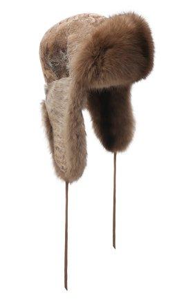 Женская шапка-ушанка из меха соболя и каракульчи FURLAND бежевого цвета, арт. 0139610710004300002   Фото 1