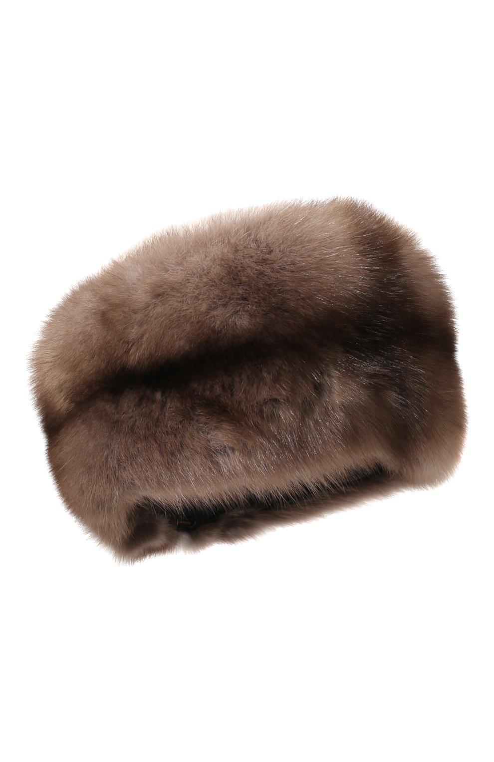 Женская шапка из меха соболя KUSSENKOVV бежевого цвета, арт. 062003436455 | Фото 1
