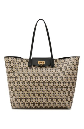 Женский сумка-тоут gancini SALVATORE FERRAGAMO коричневого цвета, арт. Z-0726583 | Фото 1