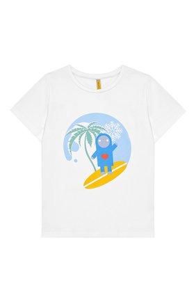 Детская хлопковая футболка MUMOFSIX белого цвета, арт. MOSFW19TS_01WH | Фото 1