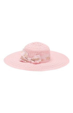 Детская шляпа MONNALISA розового цвета, арт. 175009 | Фото 1