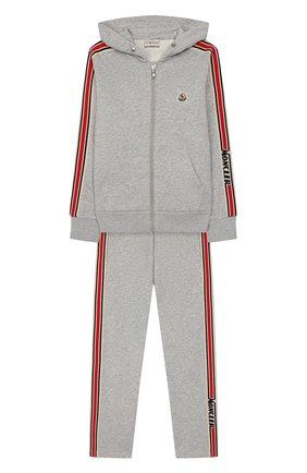 Детского комплект из толстовки и брюк MONCLER серого цвета, арт. F1-954-8M701-20-809AG/12-14A | Фото 1