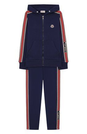 Детского комплект из толстовки и брюк MONCLER синего цвета, арт. F1-954-8M701-20-809AG/12-14A | Фото 1
