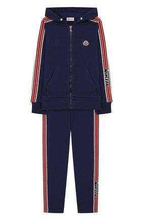Детского комплект из толстовки и брюк MONCLER синего цвета, арт. F1-954-8M701-20-809AG/8-10A | Фото 1