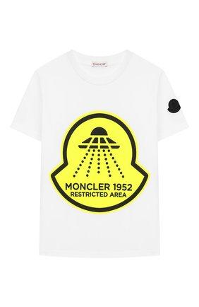 Детская хлопковая футболка MONCLER белого цвета, арт. F1-954-8C706-20-83907/8-10A | Фото 1