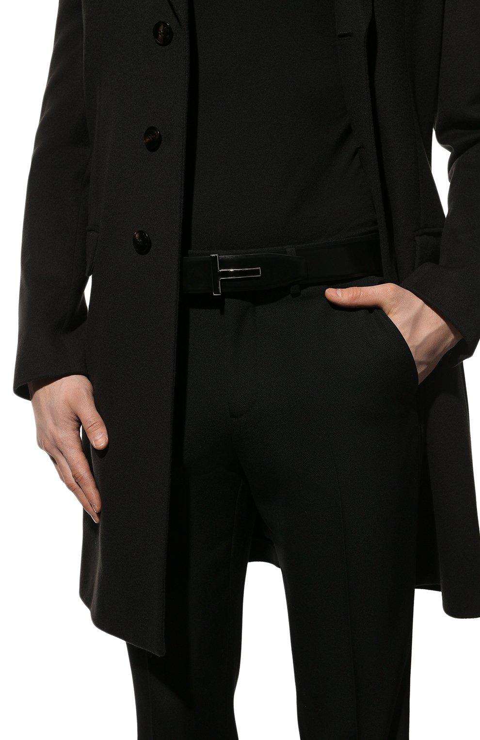 Мужской кожаный ремень TOM FORD черного цвета, арт. TB247P-LCL052   Фото 2