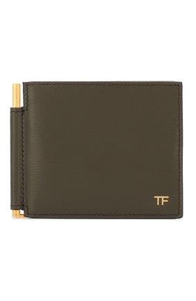 Мужской кожаный зажим для денег TOM FORD хаки цвета, арт. Y0231T-LCL053 | Фото 1
