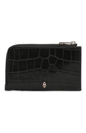 Мужской кожаный футляр для кредитных карт ALEXANDER MCQUEEN черного цвета, арт. 569424/DZT0Y | Фото 1