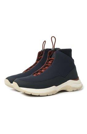 Мужские комбинированные кроссовки LORO PIANA темно-синего цвета, арт. FAL0146 | Фото 1