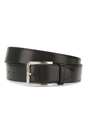 Мужской кожаный ремень KITON черного цвета, арт. USC23PN00101 | Фото 1