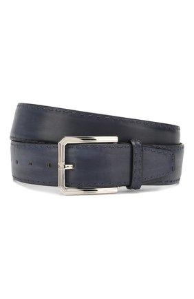 Мужской кожаный ремень KITON темно-синего цвета, арт. USC23PN00100 | Фото 1