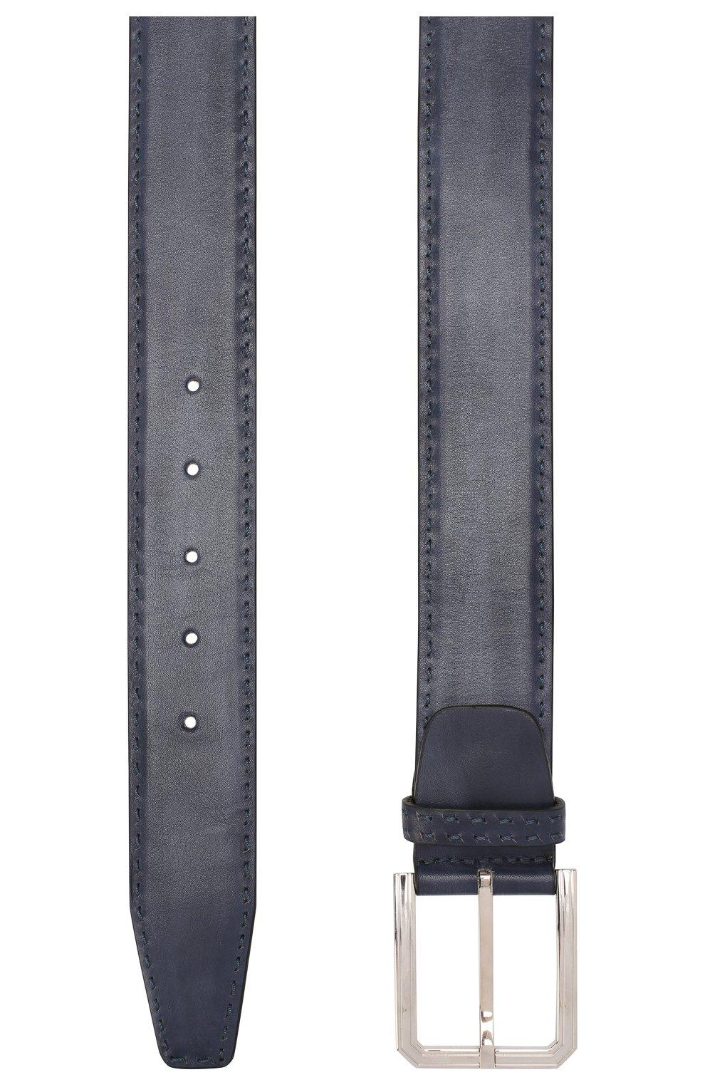 Мужской кожаный ремень KITON темно-синего цвета, арт. USC23PN00100 | Фото 2