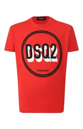Мужская хлопковая футболка DSQUARED2 красного цвета, арт. S74GD0659/S22427   Фото 1