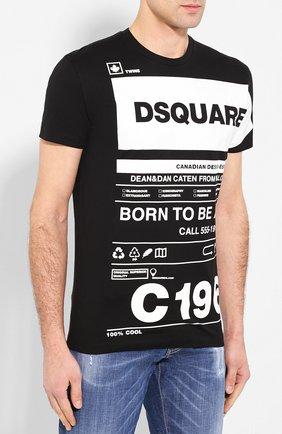 Мужская хлопковая футболка DSQUARED2 черно-белого цвета, арт. S74GD0697/S22427 | Фото 3