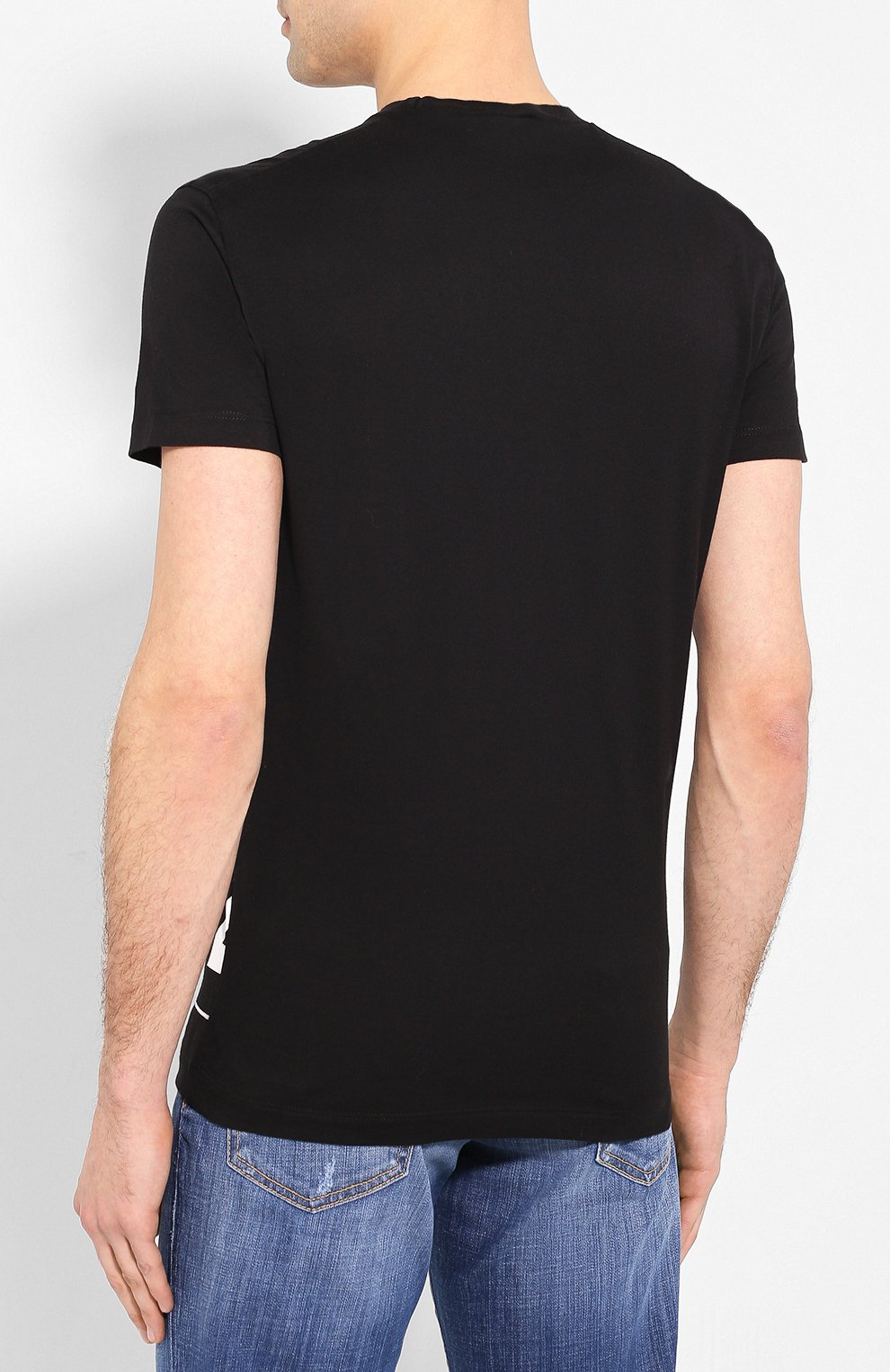 Мужская хлопковая футболка DSQUARED2 черно-белого цвета, арт. S74GD0697/S22427 | Фото 4