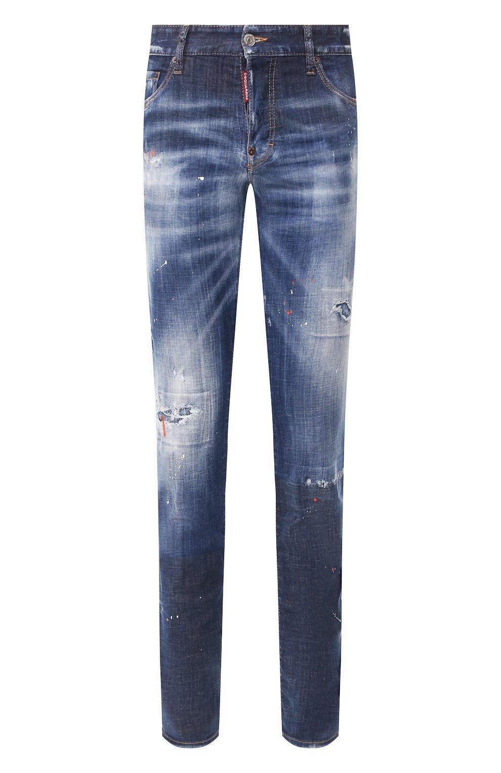 Мужские джинсы DSQUARED2 синего цвета, арт. S74LB0688/S30342   Фото 1 (Силуэт М (брюки): Узкие; Длина (брюки, джинсы): Стандартные; Материал внешний: Хлопок, Деним)