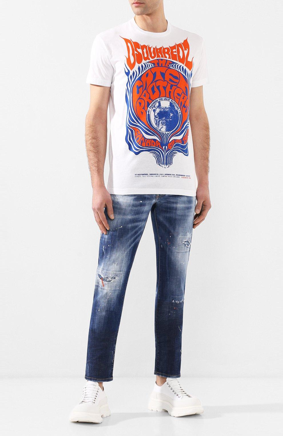 Мужские джинсы DSQUARED2 синего цвета, арт. S74LB0688/S30342   Фото 2 (Силуэт М (брюки): Узкие; Длина (брюки, джинсы): Стандартные; Материал внешний: Хлопок, Деним)
