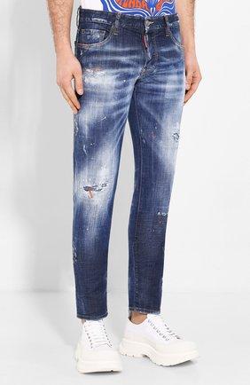 Мужские джинсы DSQUARED2 синего цвета, арт. S74LB0688/S30342   Фото 3 (Силуэт М (брюки): Узкие; Длина (брюки, джинсы): Стандартные; Материал внешний: Хлопок, Деним)