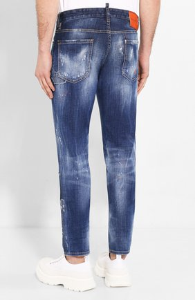 Мужские джинсы DSQUARED2 синего цвета, арт. S74LB0688/S30342   Фото 4 (Силуэт М (брюки): Узкие; Длина (брюки, джинсы): Стандартные; Материал внешний: Хлопок, Деним)