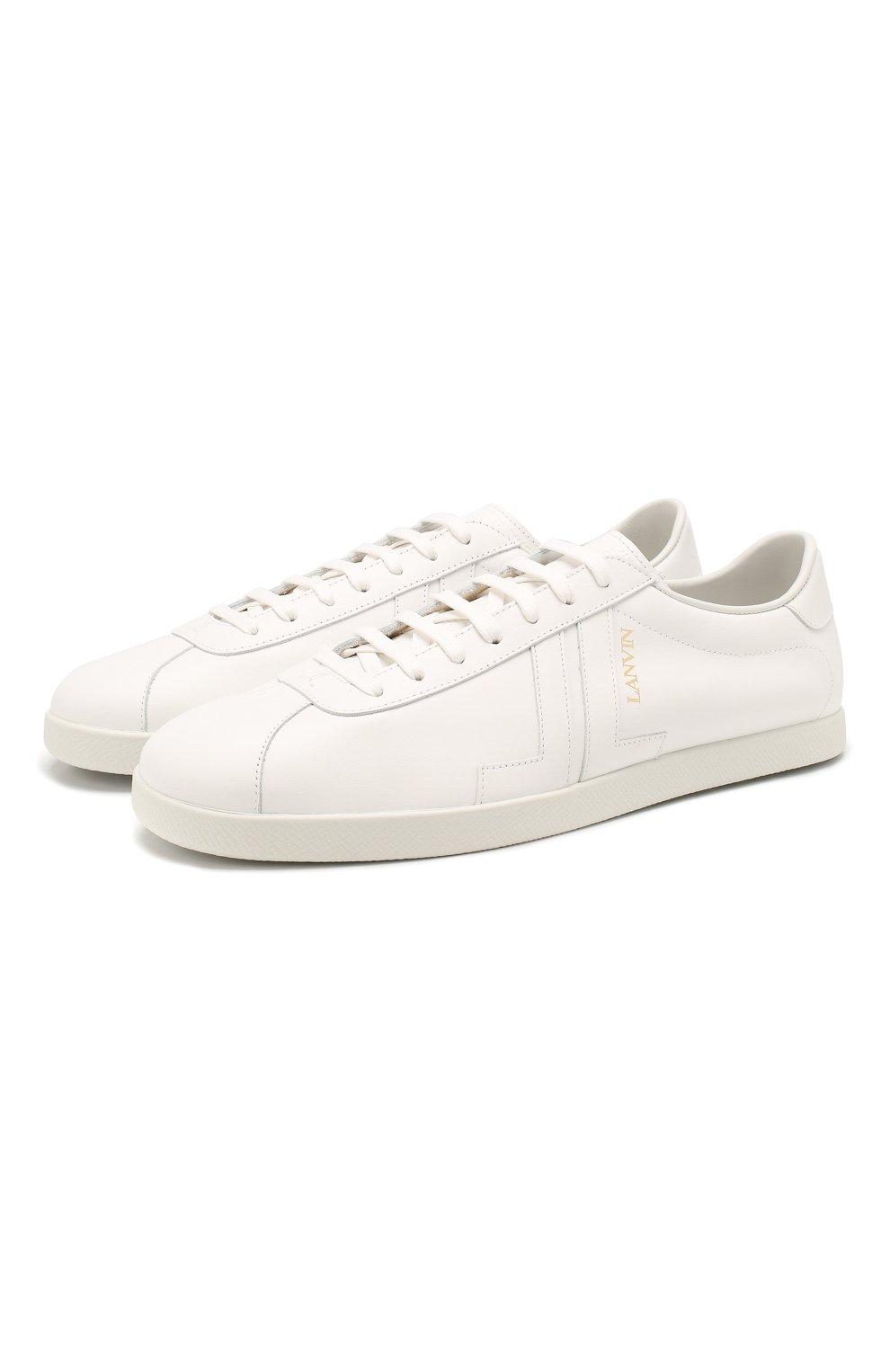 Мужские кожаные кеды LANVIN белого цвета, арт. FM-SKDL0N-MAS0-P20   Фото 1 (Материал внутренний: Натуральная кожа; Подошва: Плоская)