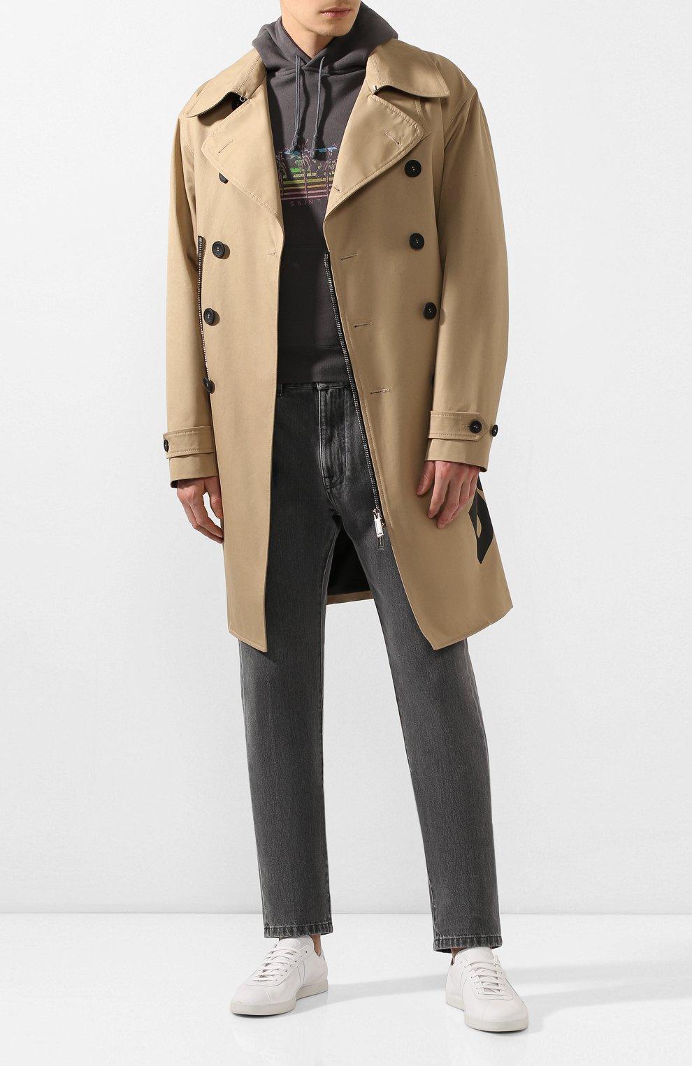 Мужские кожаные кеды LANVIN белого цвета, арт. FM-SKDL0N-MAS0-P20   Фото 2 (Материал внутренний: Натуральная кожа; Подошва: Плоская)
