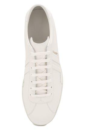 Мужские кожаные кеды LANVIN белого цвета, арт. FM-SKDL0N-MAS0-P20   Фото 5 (Материал внутренний: Натуральная кожа; Подошва: Плоская)