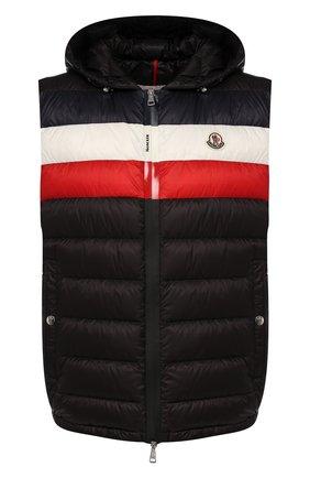 Мужской пуховый жилет timothe MONCLER черного цвета, арт. F1-091-1A114-00-C0453 | Фото 1 (Длина (верхняя одежда): Короткие; Материал внешний: Синтетический материал; Материал подклада: Синтетический материал; Мужское Кросс-КТ: Верхняя одежда; Кросс-КТ: Пуховик, Куртка; Стили: Спорт-шик)
