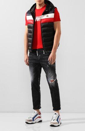 Мужской пуховый жилет timothe MONCLER черного цвета, арт. F1-091-1A114-00-C0453 | Фото 2 (Длина (верхняя одежда): Короткие; Материал внешний: Синтетический материал; Материал подклада: Синтетический материал; Мужское Кросс-КТ: Верхняя одежда; Кросс-КТ: Пуховик, Куртка; Стили: Спорт-шик)