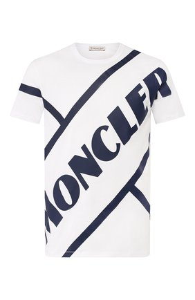 Мужская хлопковая футболка MONCLER белого цвета, арт. F1-091-8C706-10-8390T | Фото 1